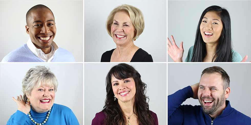 Gallery headshots of 6 different real Simpsonville cosmetic dentistry patients